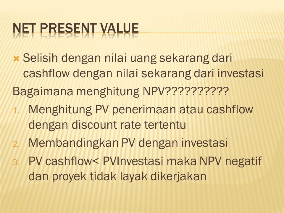 Net present value Selisih dengan nilai uang sekarang dari cashflow dengan nilai sekarang dari investasi.