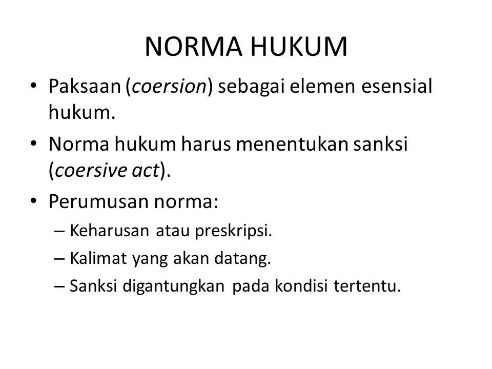 NORMA HUKUM Paksaan (coersion) sebagai elemen esensial hukum.