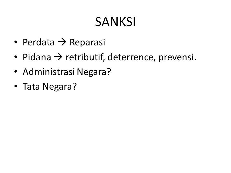 SANKSI Perdata  Reparasi Pidana  retributif, deterrence, prevensi.