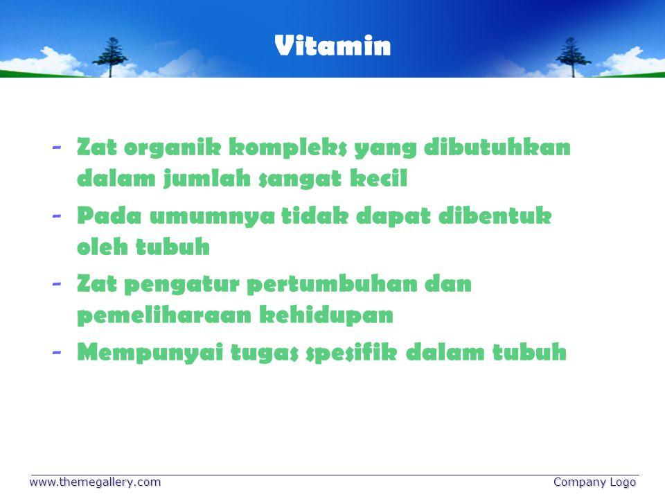 Vitamin Zat organik kompleks yang dibutuhkan dalam jumlah sangat kecil