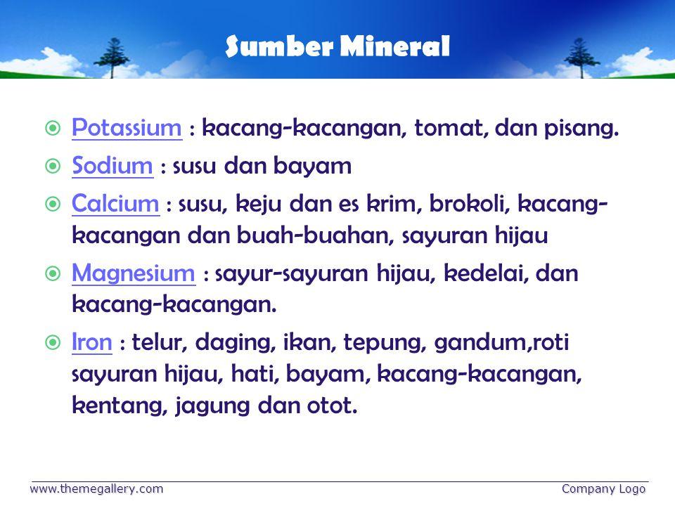 Sumber Mineral Potassium : kacang-kacangan, tomat, dan pisang.