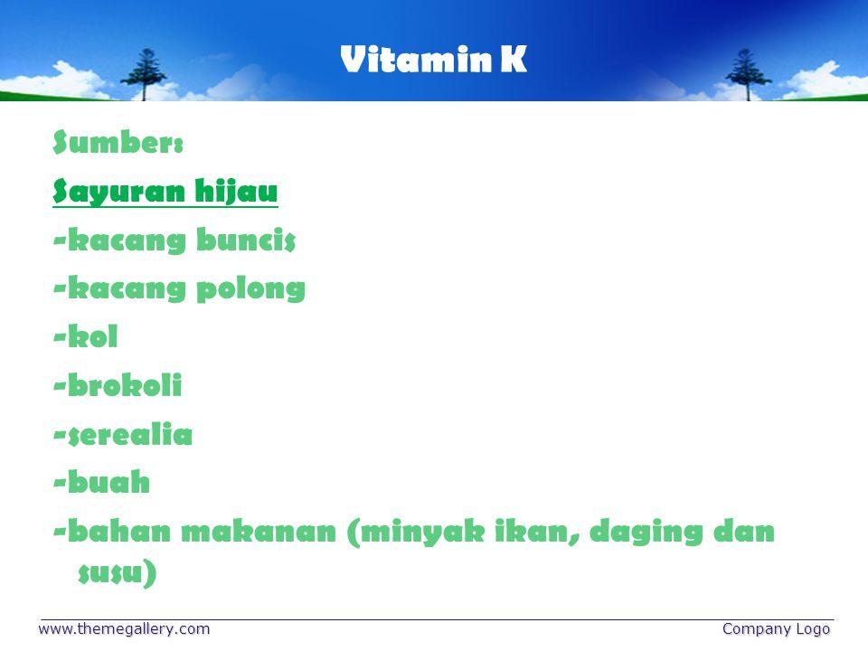Vitamin K Sumber: Sayuran hijau -kacang buncis -kacang polong -kol -brokoli -serealia -buah -bahan makanan (minyak ikan, daging dan susu)