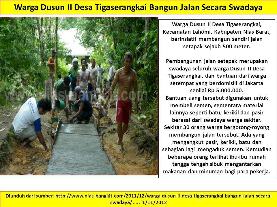 Warga Dusun II Desa Tigaserangkai Bangun Jalan Secara Swadaya