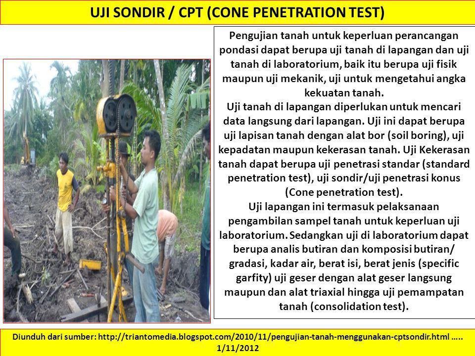 UJI SONDIR / CPT (CONE PENETRATION TEST)