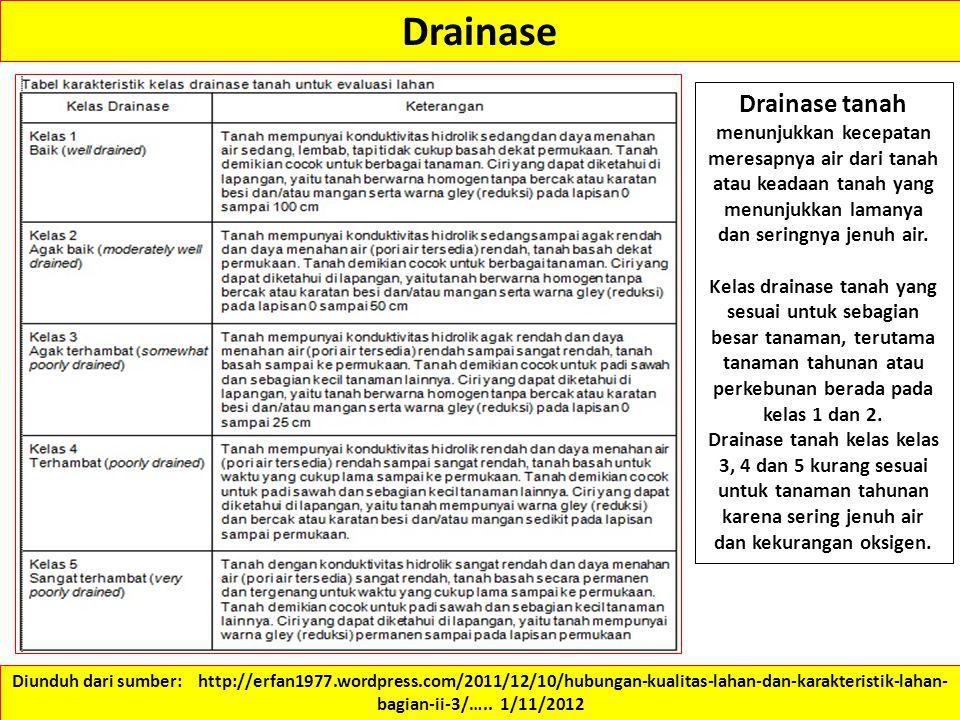 Drainase Drainase tanah menunjukkan kecepatan meresapnya air dari tanah atau keadaan tanah yang menunjukkan lamanya dan seringnya jenuh air.