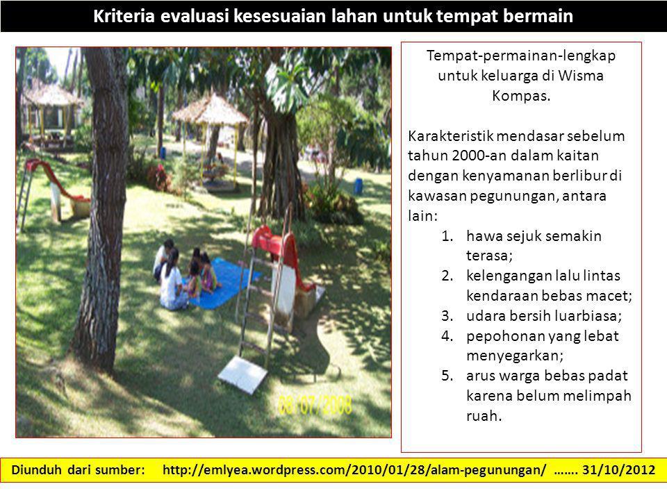 Kriteria evaluasi kesesuaian lahan untuk tempat bermain