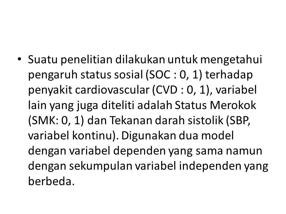Suatu penelitian dilakukan untuk mengetahui pengaruh status sosial (SOC : 0, 1) terhadap penyakit cardiovascular (CVD : 0, 1), variabel lain yang juga diteliti adalah Status Merokok (SMK: 0, 1) dan Tekanan darah sistolik (SBP, variabel kontinu).