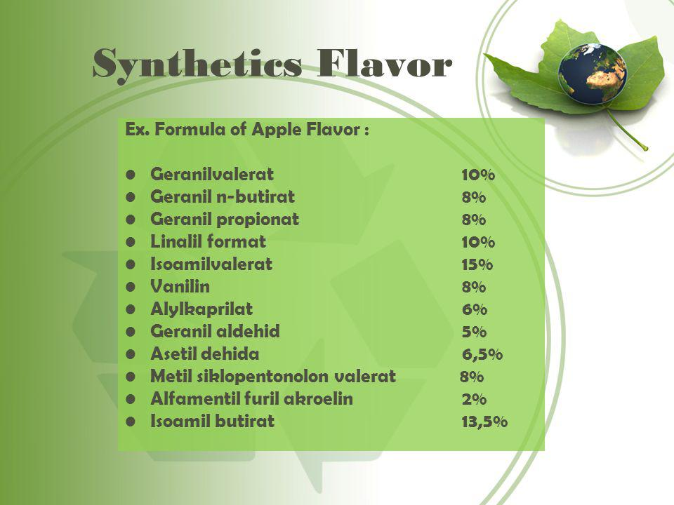 Synthetics Flavor Ex. Formula of Apple Flavor : Geranilvalerat 10%