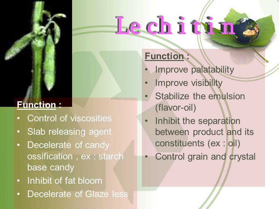 Le ch i t i n Function : Improve palatability Improve visibility