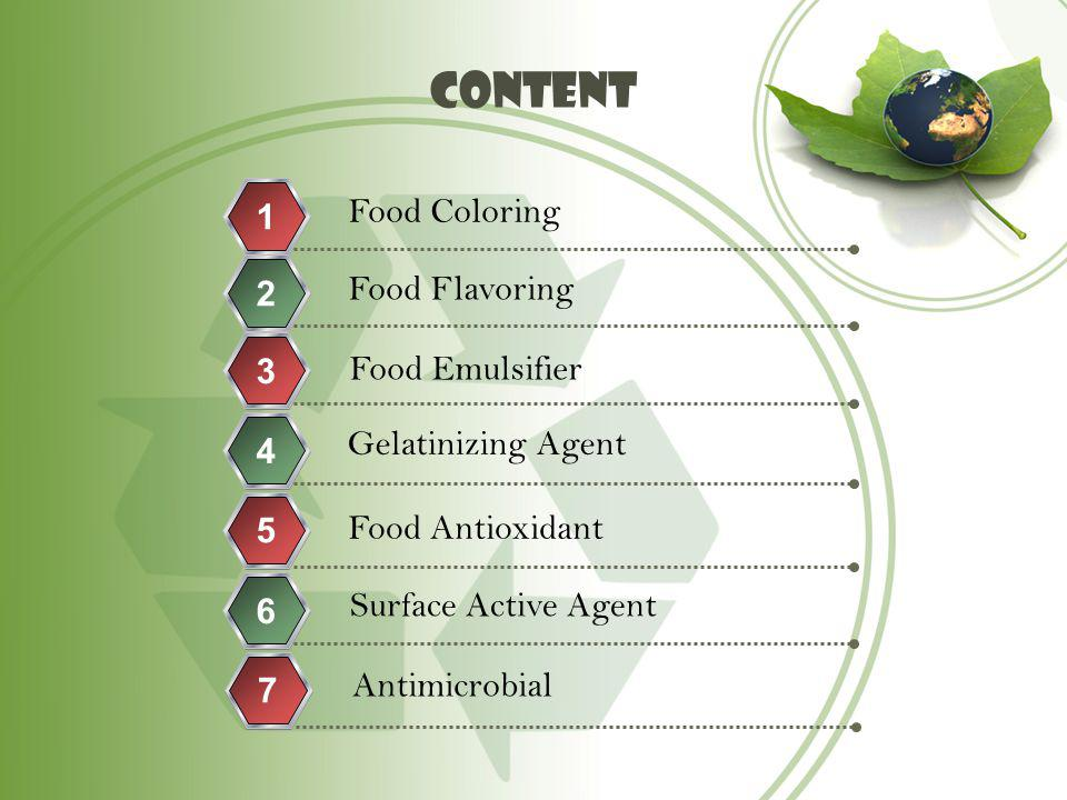content Food Coloring 1 Food Flavoring 2 3 Food Emulsifier