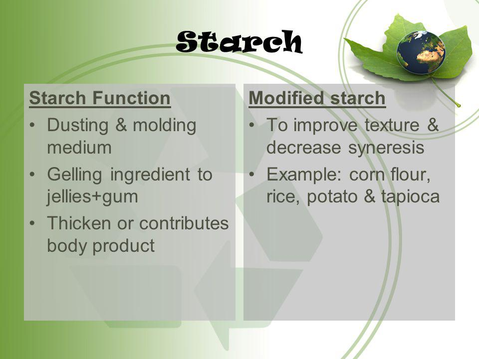 Starch Starch Function Dusting & molding medium