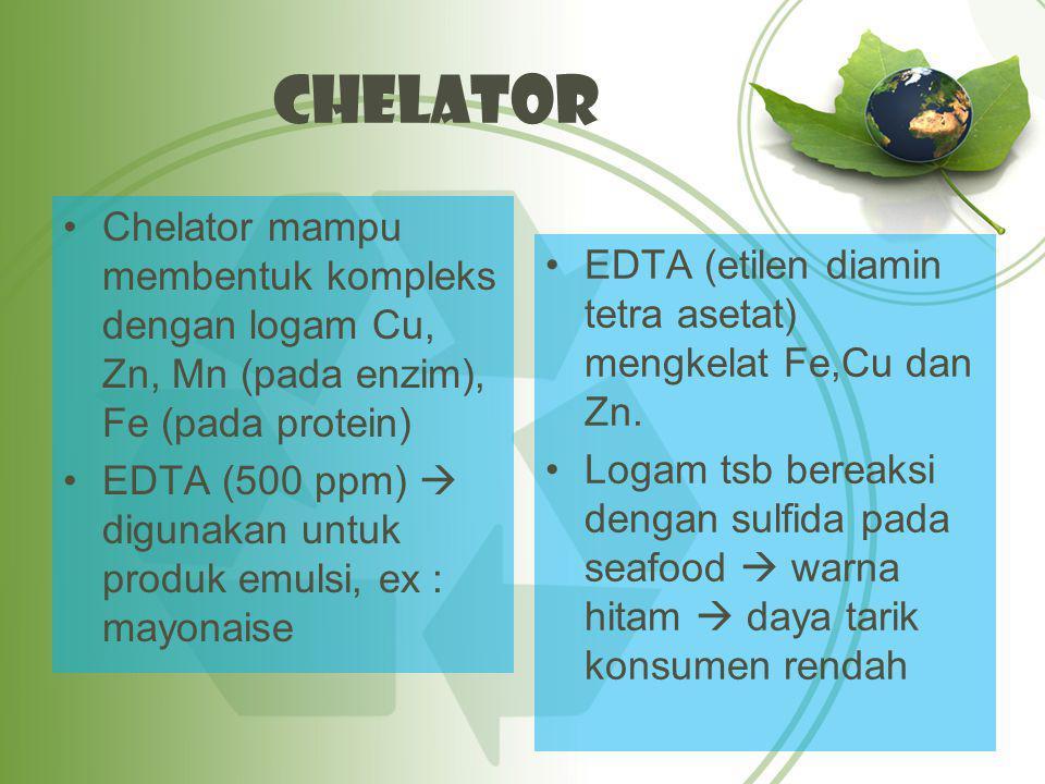 Chelator Chelator mampu membentuk kompleks dengan logam Cu, Zn, Mn (pada enzim), Fe (pada protein)