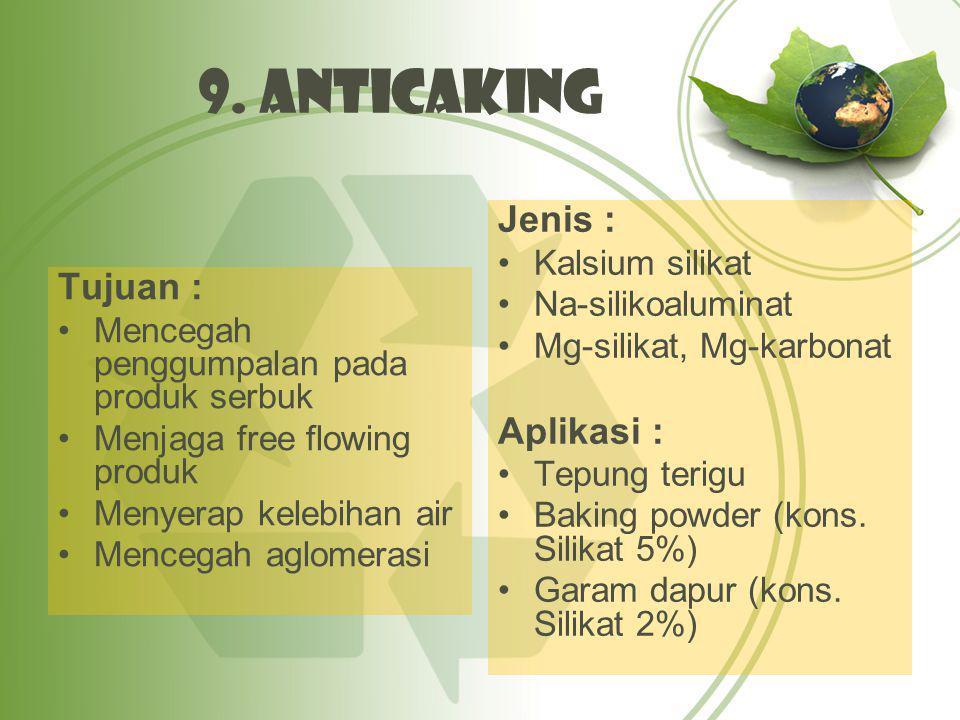 9. Anticaking Jenis : Tujuan : Aplikasi : Kalsium silikat