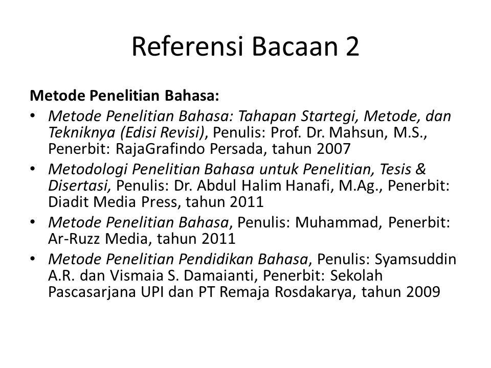 Referensi Bacaan 2 Metode Penelitian Bahasa: