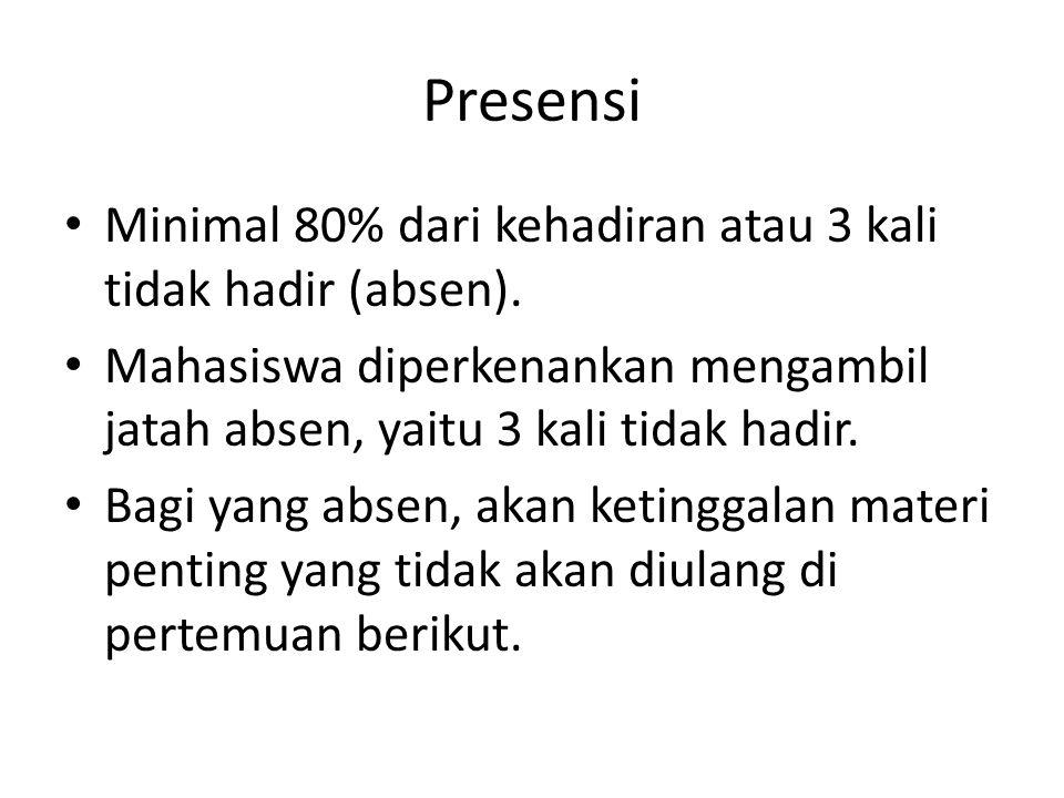 Presensi Minimal 80% dari kehadiran atau 3 kali tidak hadir (absen).