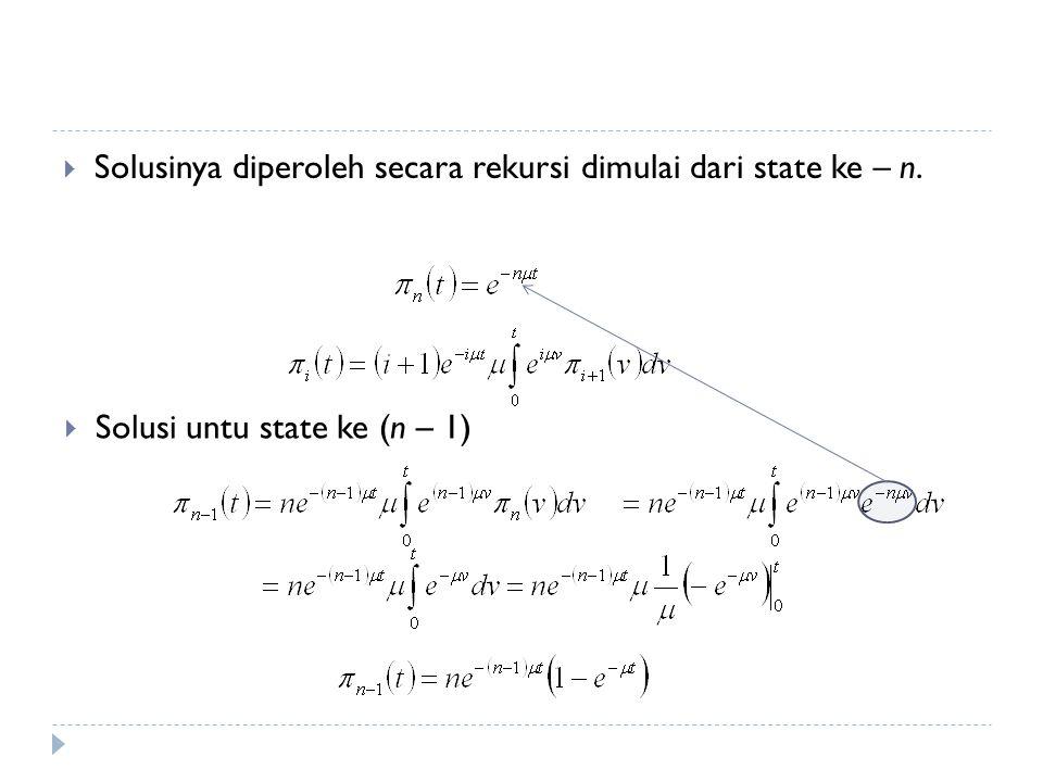 Solusinya diperoleh secara rekursi dimulai dari state ke – n.