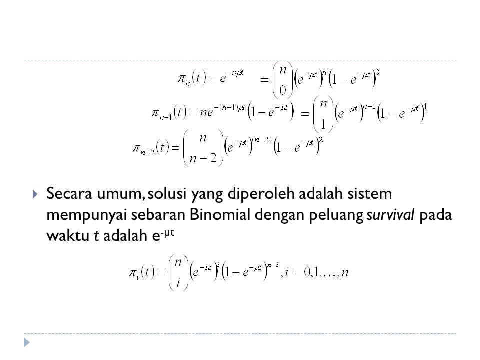 Secara umum, solusi yang diperoleh adalah sistem mempunyai sebaran Binomial dengan peluang survival pada waktu t adalah e-µt