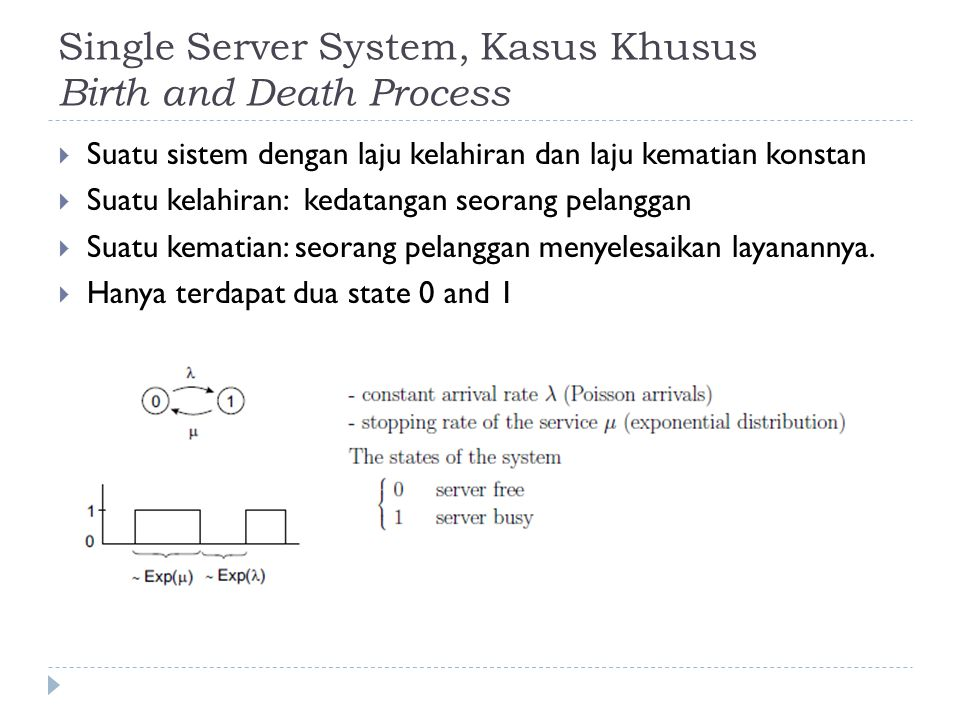 Single Server System, Kasus Khusus Birth and Death Process