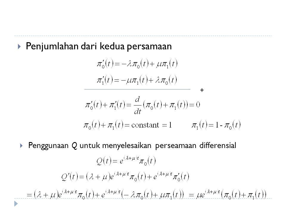 Penjumlahan dari kedua persamaan