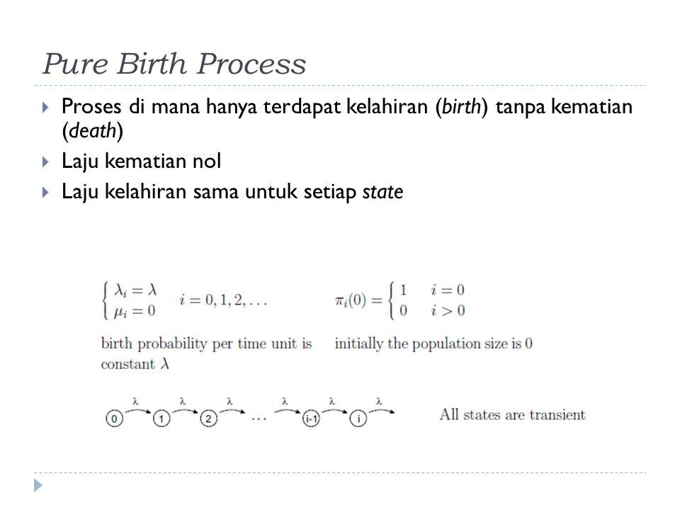 Pure Birth Process Proses di mana hanya terdapat kelahiran (birth) tanpa kematian (death) Laju kematian nol.