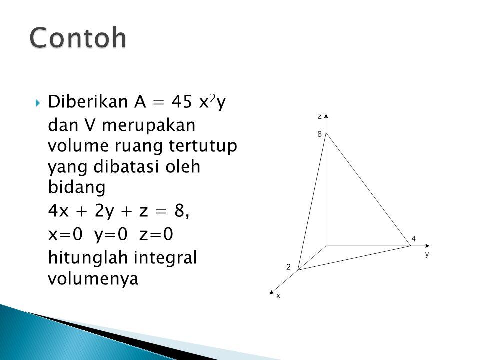 Contoh Diberikan A = 45 x2y. dan V merupakan volume ruang tertutup yang dibatasi oleh bidang. 4x + 2y + z = 8,