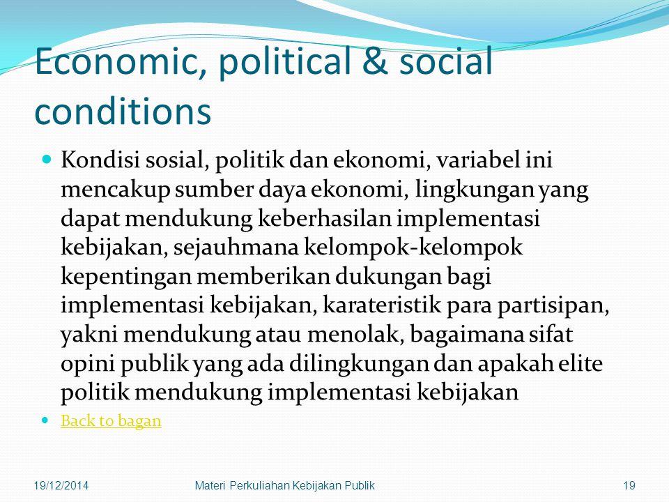Economic, political & social conditions