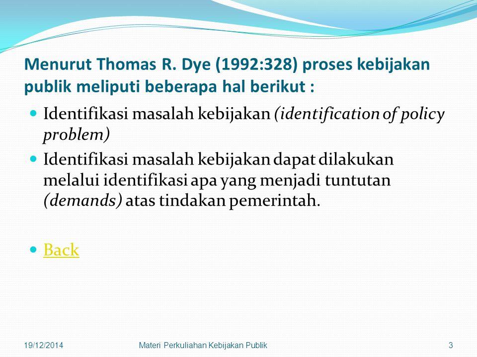 Menurut Thomas R. Dye (1992:328) proses kebijakan publik meliputi beberapa hal berikut :