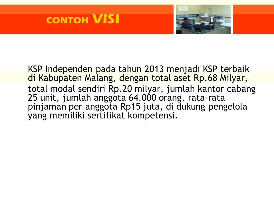 CONTOH VISI KSP Independen pada tahun 2013 menjadi KSP terbaik di Kabupaten Malang, dengan total aset Rp.68 Milyar,