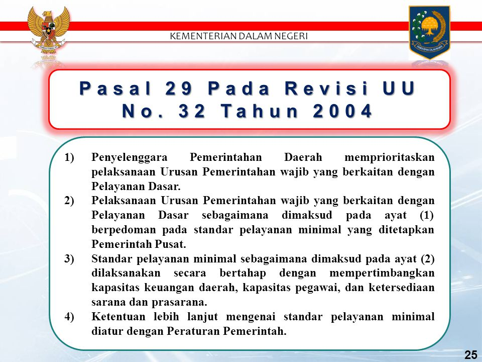 Pasal 29 Pada Revisi UU No. 32 Tahun 2004