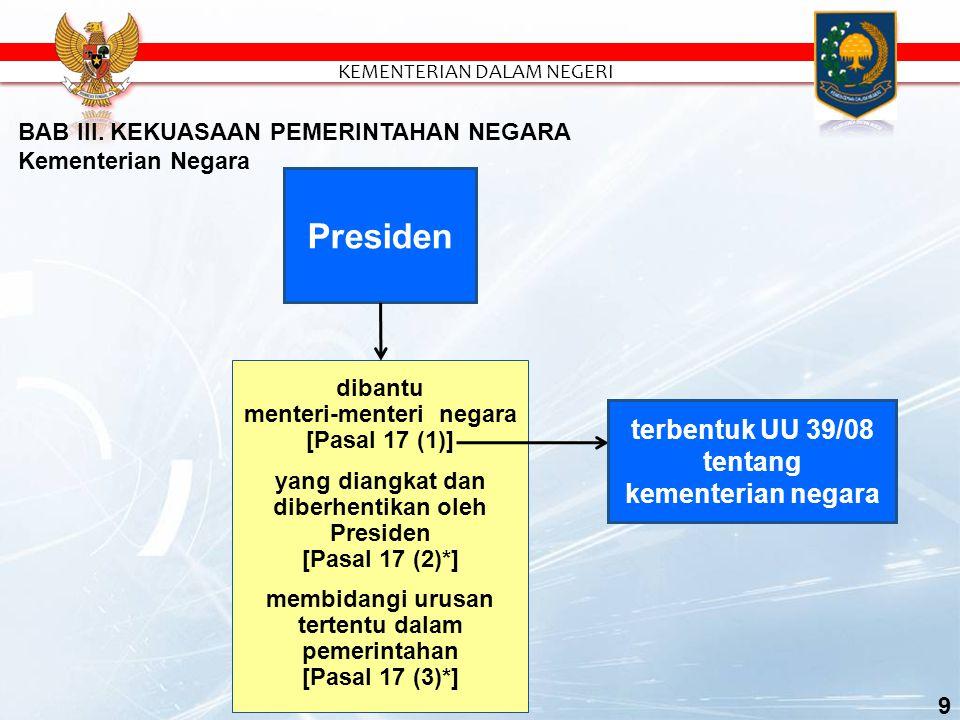 Presiden terbentuk UU 39/08 tentang kementerian negara