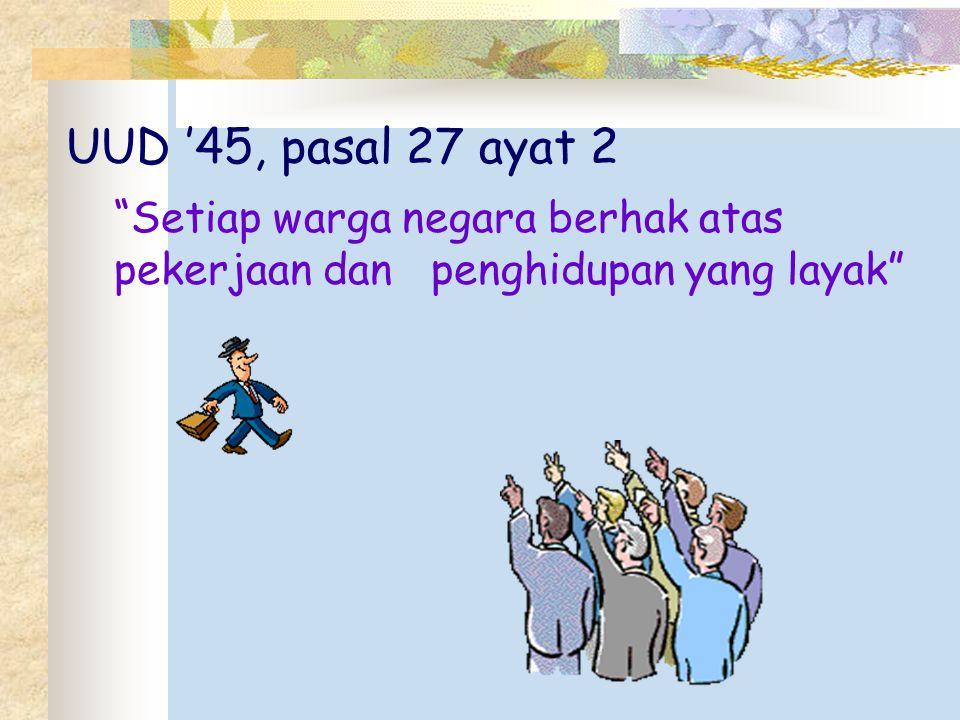 UUD '45, pasal 27 ayat 2 Setiap warga negara berhak atas pekerjaan dan penghidupan yang layak