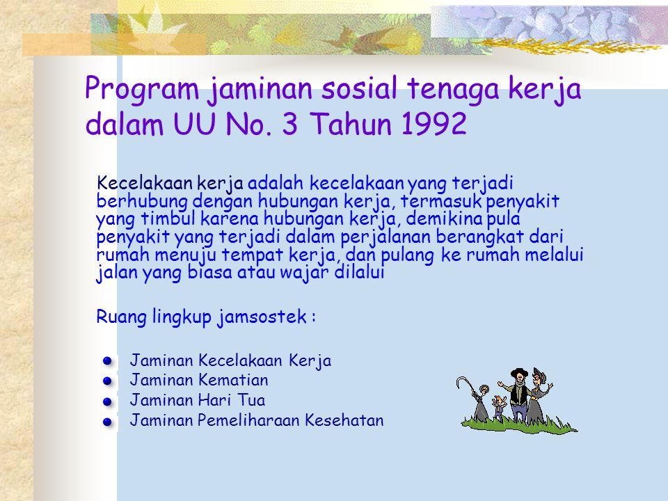 Program jaminan sosial tenaga kerja dalam UU No. 3 Tahun 1992
