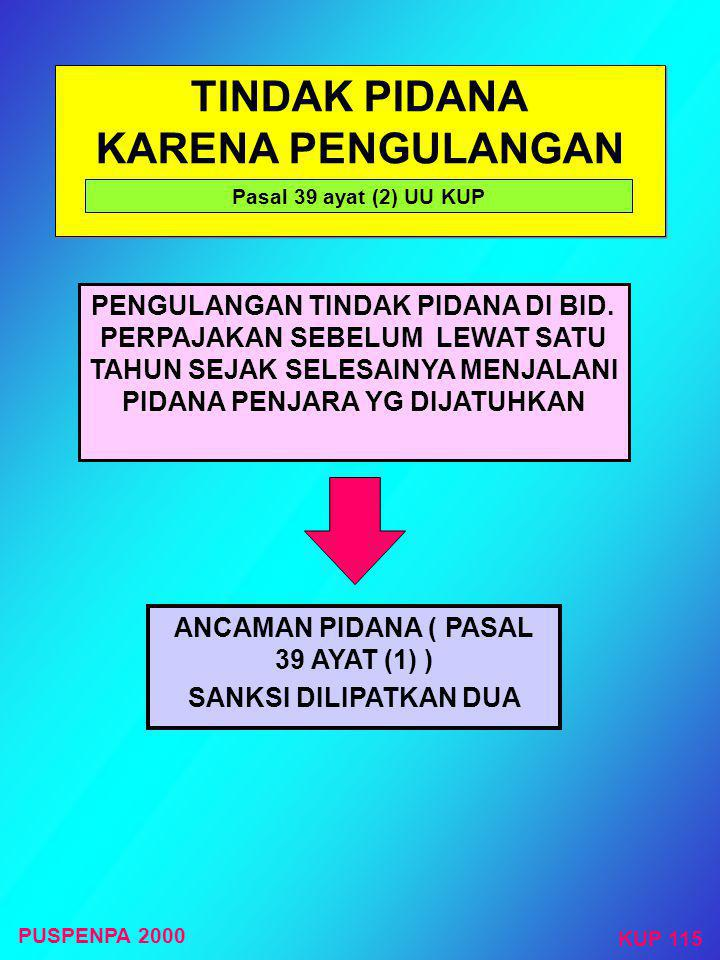 TINDAK PIDANA KARENA PENGULANGAN ANCAMAN PIDANA ( PASAL 39 AYAT (1) )