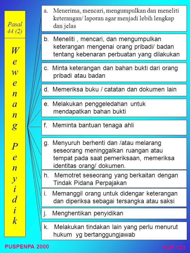 Pasal 44 (2) W e w e n a n g P e n y i d i k