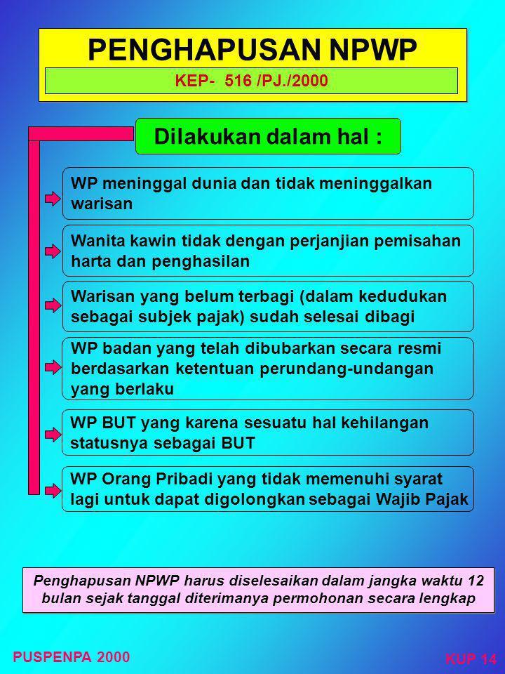 PENGHAPUSAN NPWP Dilakukan dalam hal : KEP- 516 /PJ./2000
