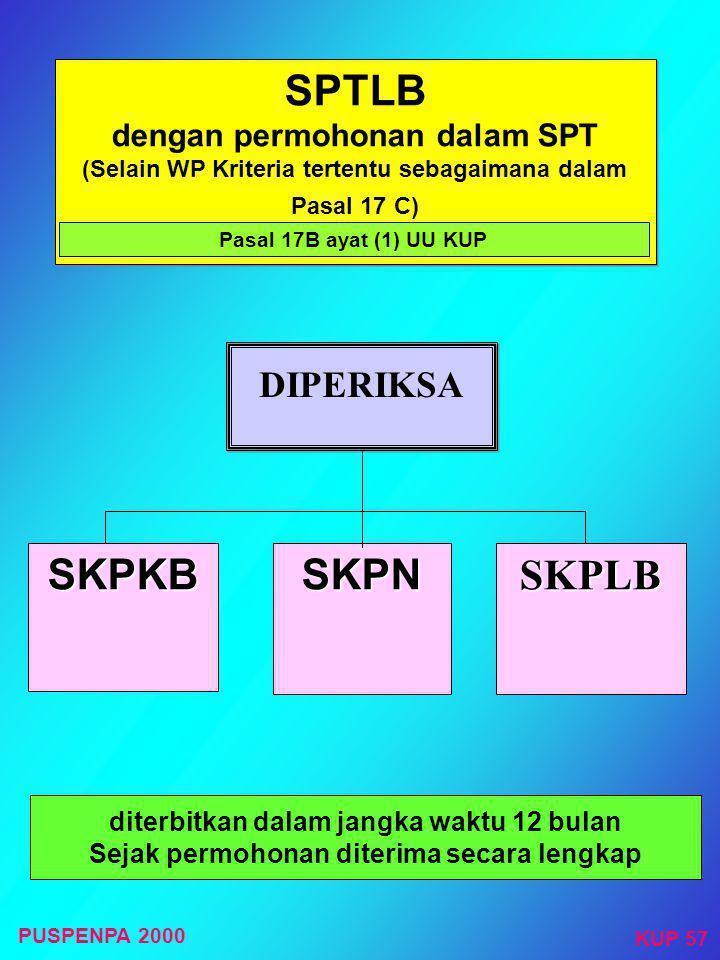 SPTLB dengan permohonan dalam SPT (Selain WP Kriteria tertentu sebagaimana dalam Pasal 17 C)