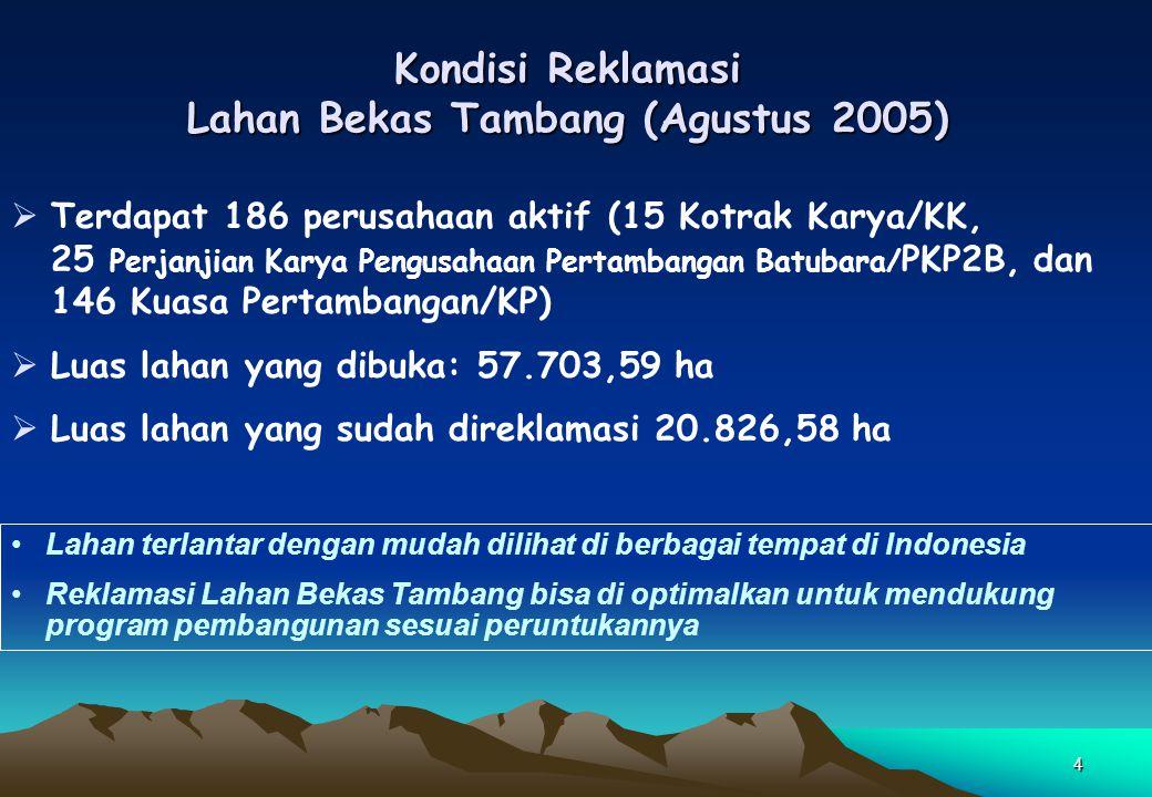 Kondisi Reklamasi Lahan Bekas Tambang (Agustus 2005)