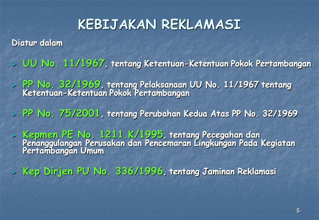 KEBIJAKAN REKLAMASI Diatur dalam. UU No. 11/1967, tentang Ketentuan-Ketentuan Pokok Pertambangan.