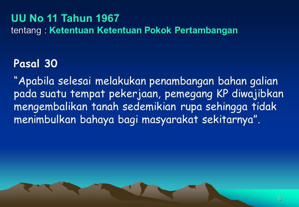 UU No 11 Tahun 1967 tentang : Ketentuan Ketentuan Pokok Pertambangan. Pasal 30.