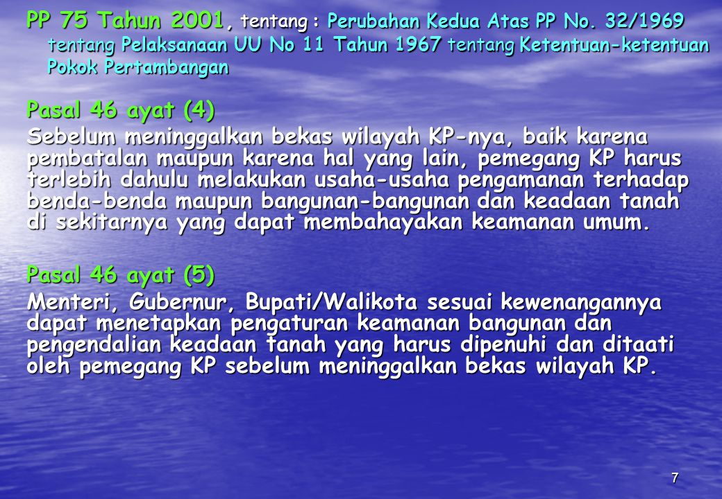 PP 75 Tahun 2001, tentang : Perubahan Kedua Atas PP No