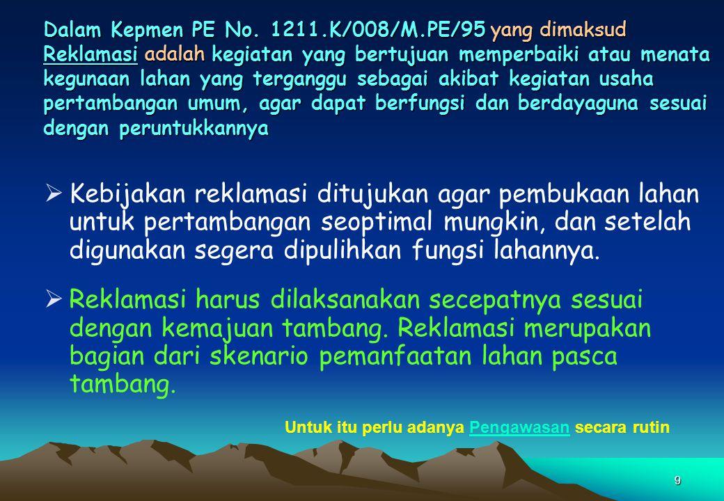 Dalam Kepmen PE No. 1211.K/008/M.PE/95 yang dimaksud Reklamasi adalah kegiatan yang bertujuan memperbaiki atau menata kegunaan lahan yang terganggu sebagai akibat kegiatan usaha pertambangan umum, agar dapat berfungsi dan berdayaguna sesuai dengan peruntukkannya
