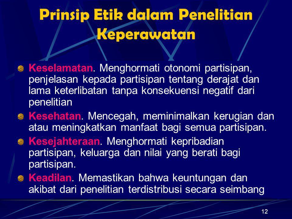 Prinsip Etik dalam Penelitian Keperawatan