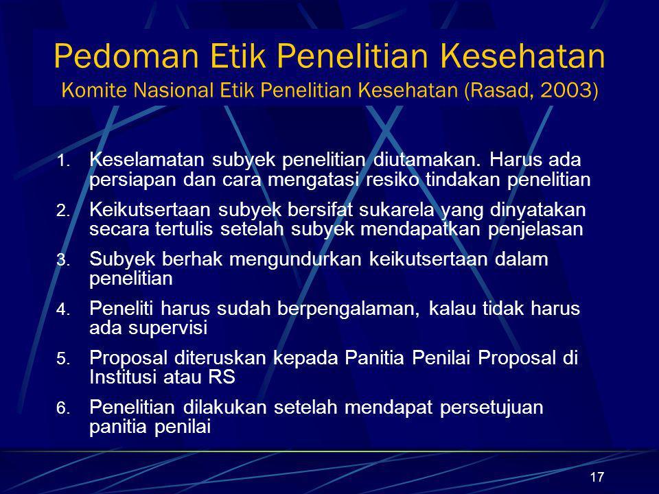 Pedoman Etik Penelitian Kesehatan Komite Nasional Etik Penelitian Kesehatan (Rasad, 2003)