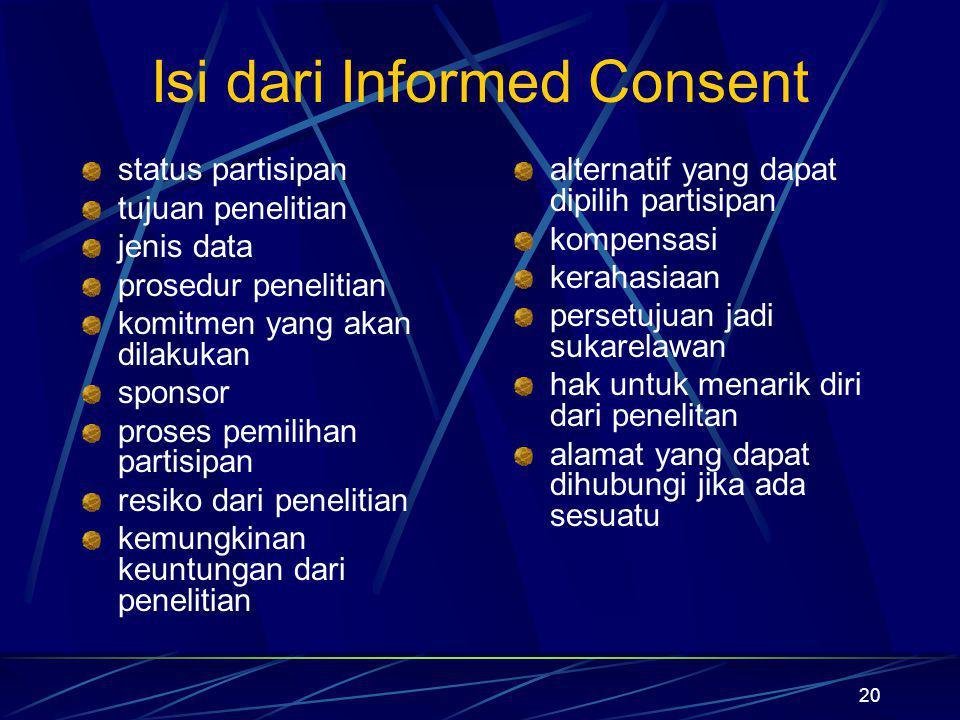 Isi dari Informed Consent