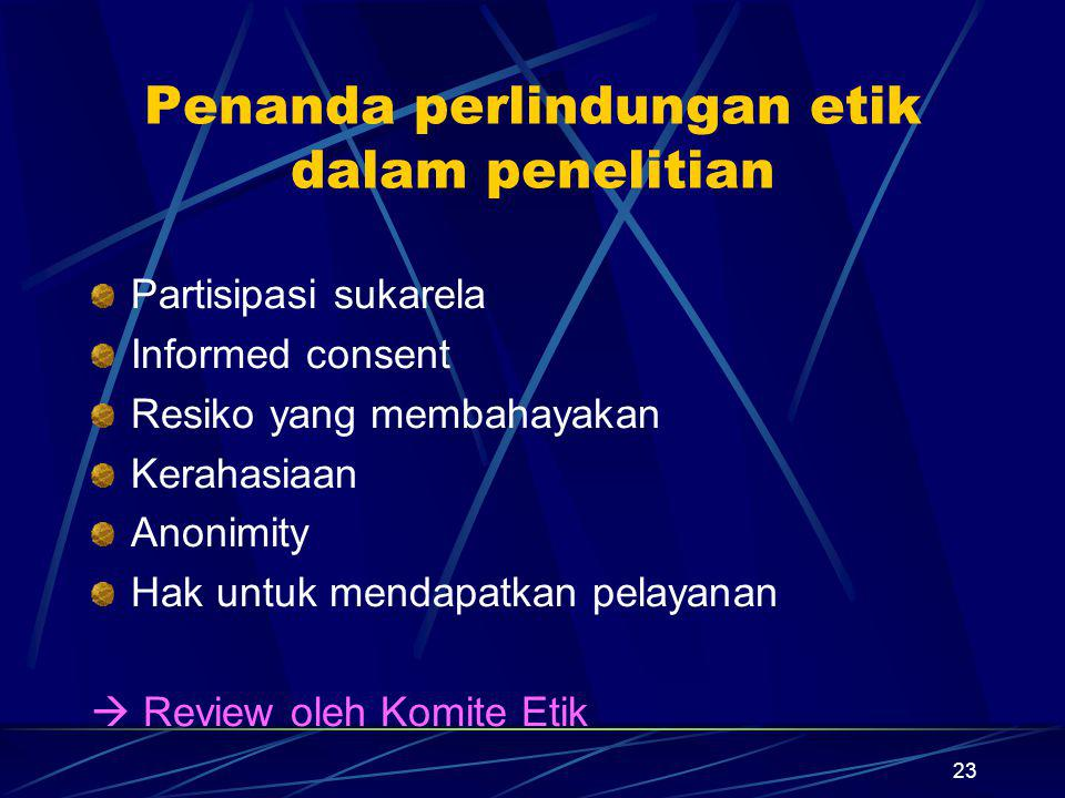 Penanda perlindungan etik dalam penelitian