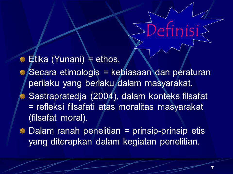 Definisi Etika (Yunani) = ethos.