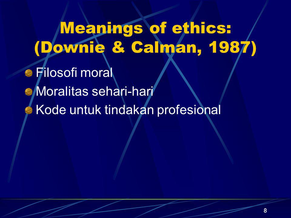 Meanings of ethics: (Downie & Calman, 1987)
