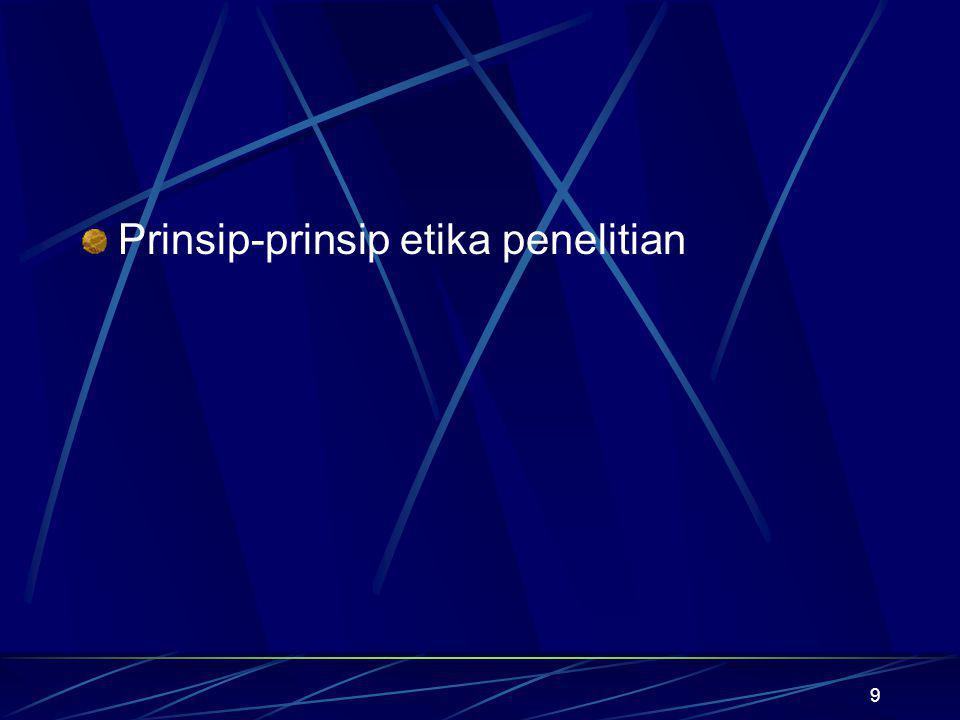 Prinsip-prinsip etika penelitian