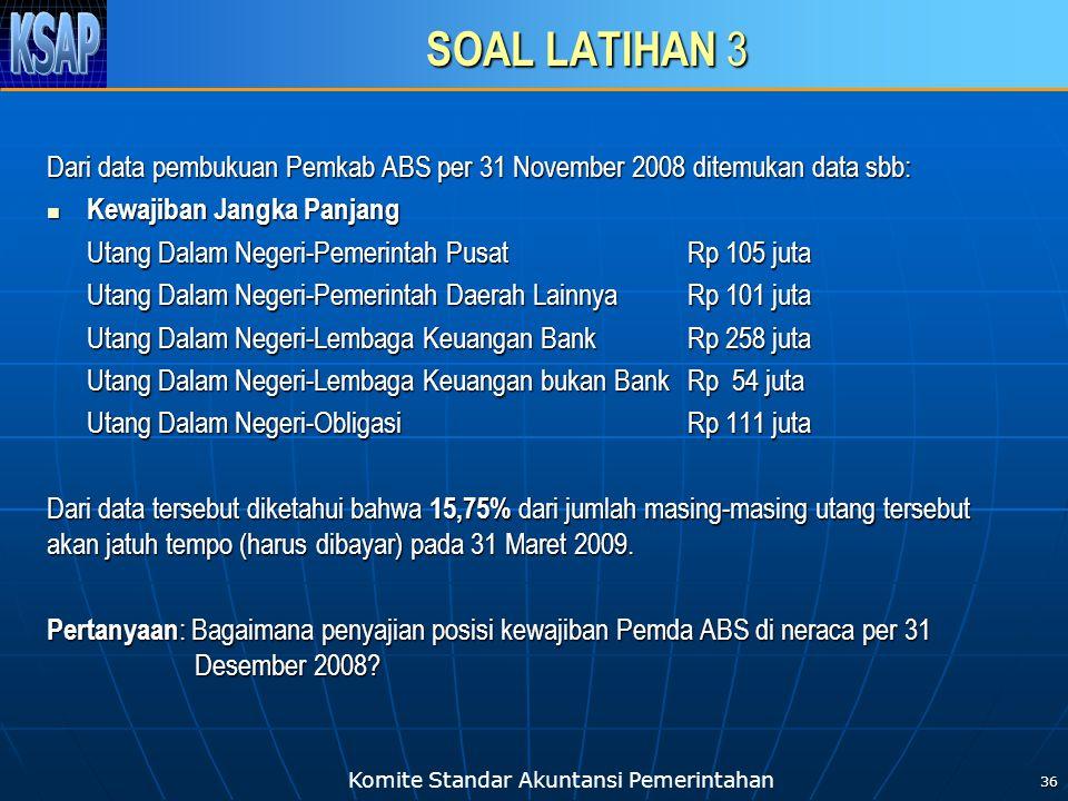 SOAL LATIHAN 3 Dari data pembukuan Pemkab ABS per 31 November 2008 ditemukan data sbb: Kewajiban Jangka Panjang.