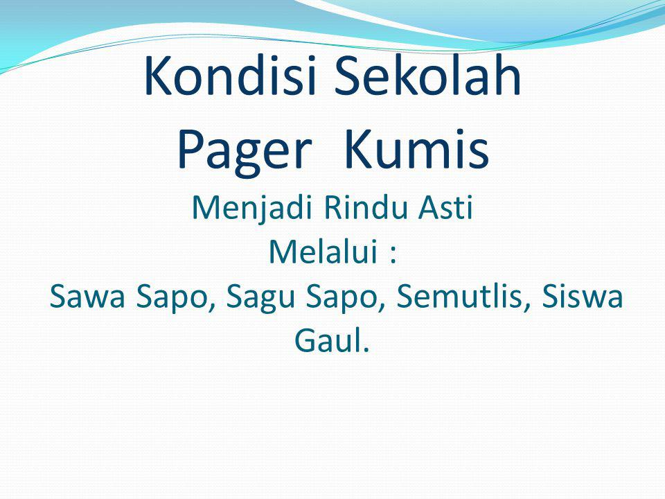 Kondisi Sekolah Pager Kumis Menjadi Rindu Asti Melalui : Sawa Sapo, Sagu Sapo, Semutlis, Siswa Gaul.